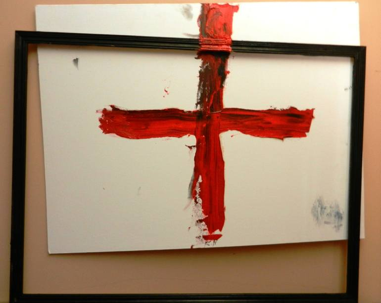 Red cross in a black frame, Ruslan Perez