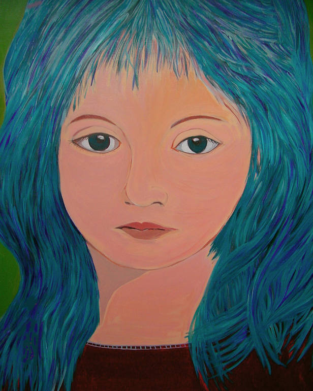 Isabella with blue hair, Romulo Guardia