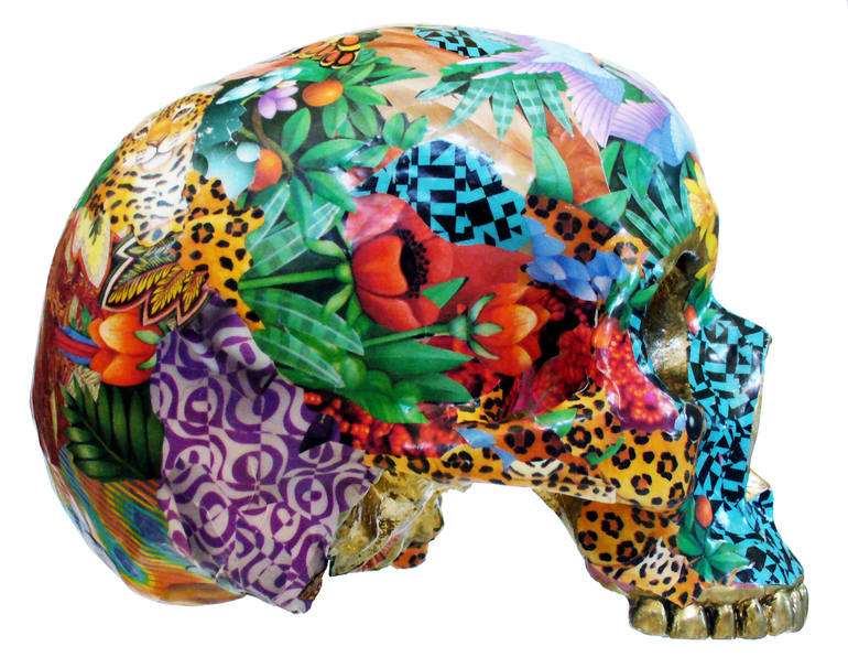 Collage Skull Sculpture, RAra Collective