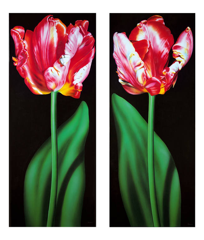 Two Tulips, diptych, Jean-Pierre Kunkel