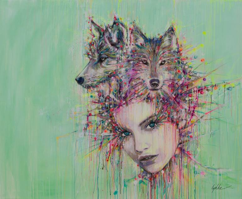 Colorful Wolf Paintings Wolf Heart Hand Colored Art